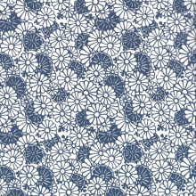 Japanese Tissue Transfer Chrysanthemum (Blue) Half Sheet