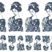 Japanese Tissue Transfer Geisha (Blue)